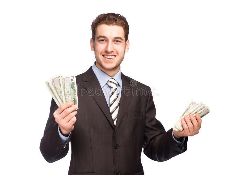 Glücklicher Mann mit Geld stockfotos