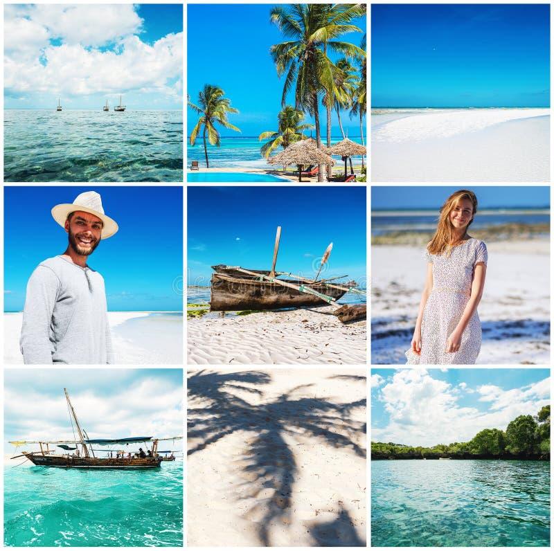 Glücklicher Mann und Frau auf tropischem Strand mit weißem Sand stockfoto