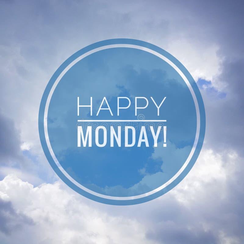 Glücklicher Montag-Gruß auf Naturhintergrund lizenzfreie stockbilder