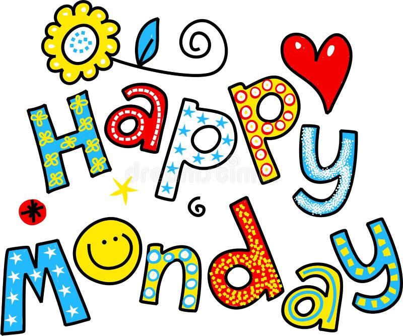 Glücklicher Montag-Karikatur-Text Clipart lizenzfreie abbildung