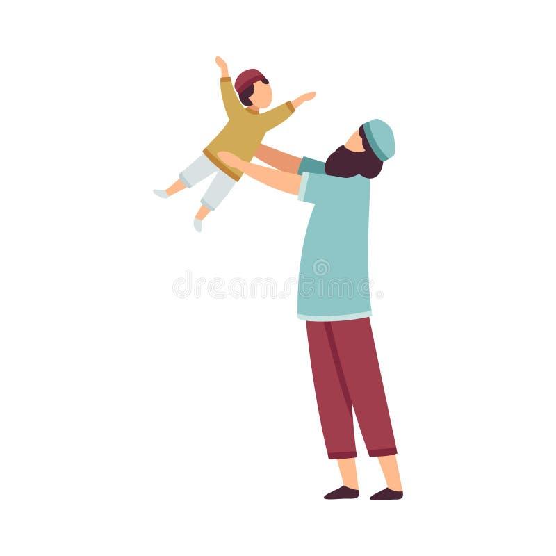 Glücklicher moslemischer Vater Playing mit seinem kleinen Sohn, der Eid Al Adha Islamic Holiday Vector-Illustration feiert lizenzfreie abbildung