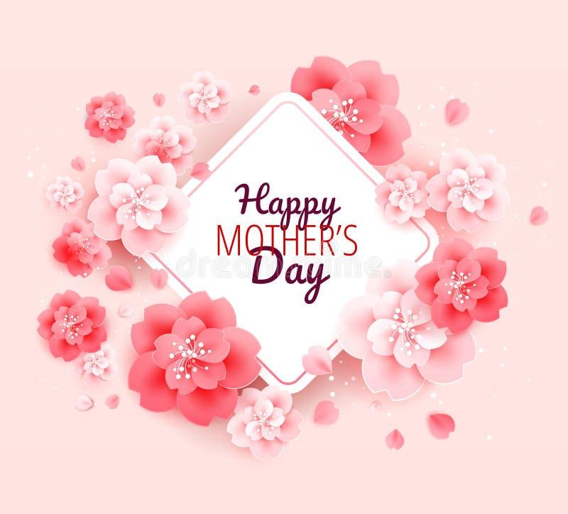 Glücklicher Mutter-Tageshintergrund mit Blumen - vector Illustration stock abbildung