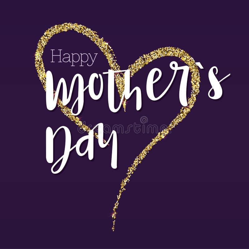 Glücklicher Muttertag Grußfahne für Ihre Glückwunschkarten Das große Handzeichnungsherz mit Goldfunkeln betriebsbereit lizenzfreie abbildung