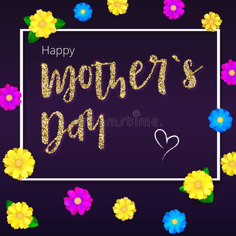 Glücklicher Muttertag Grußfahne, Goldfunkeln, weißer Rahmen für Ihre Glückwunschkarten Realistisches colorfull, hell vektor abbildung