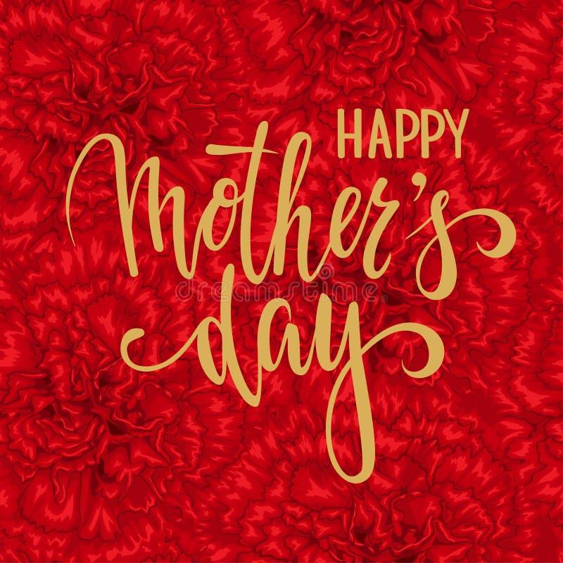 Glücklicher Muttertag Hand gezeichnete Bürstenstiftbeschriftung auf nahtlosem Blumenmuster mit roter Gartennelke stock abbildung
