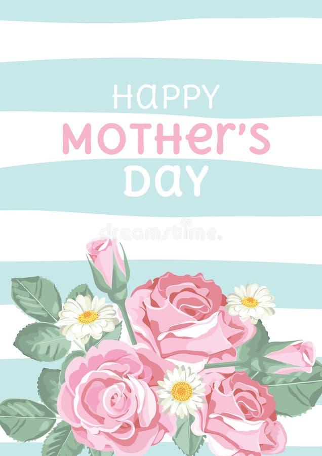 Glücklicher Muttertag Schäbige schicke Rosen auf hellgrünem blauem linearem Hintergrund mit Text Blumen-, nette Karte Vektor Illu vektor abbildung