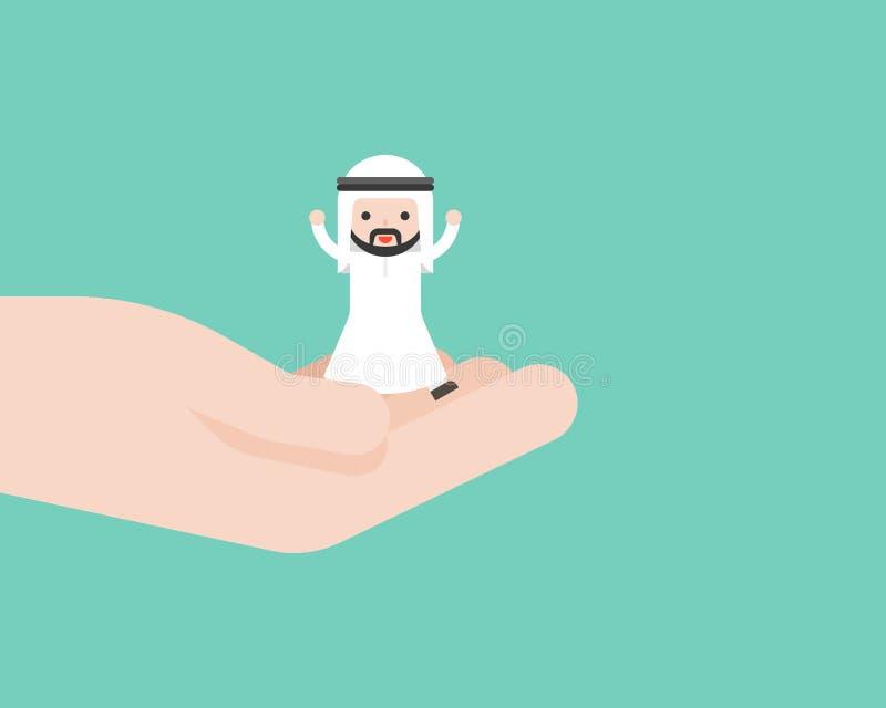Glücklicher netter arabischer Geschäftsmann in der Gotthand, Geschäftslagebetrüger lizenzfreie abbildung