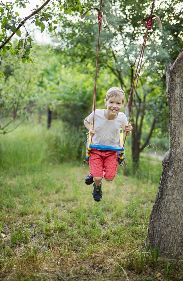 Glücklicher netter Junge auf Schwingen im Garten stockfotos