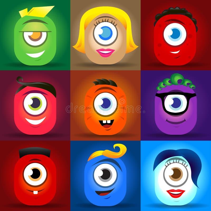 Glücklicher netter Karikaturmonstergesichts-Vektorsatz Nette quadratische Avataras und Ikonen lizenzfreie abbildung