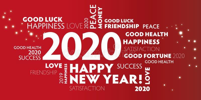2020 glücklicher neuer Jahr roter Hintergrund stock abbildung