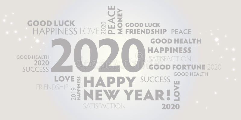 2020 glücklicher neuer, weißer und grauer Hintergrund lizenzfreie abbildung