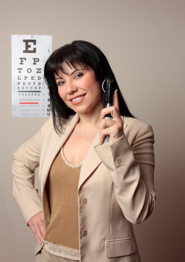 Glücklicher Optometriker stockbild