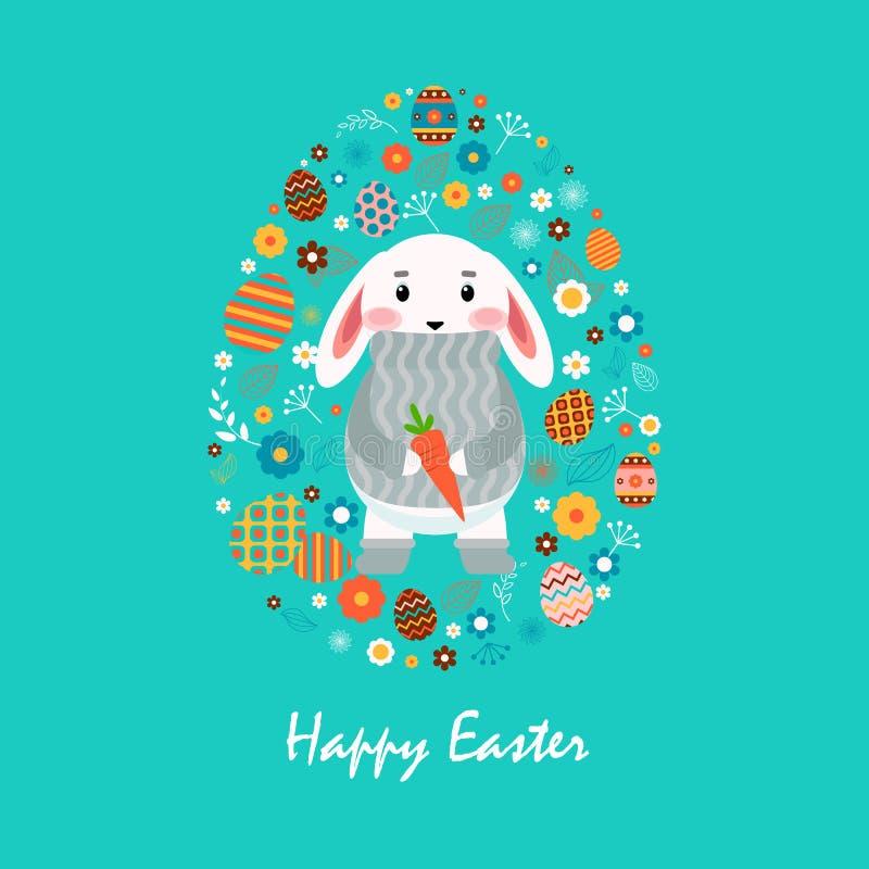 Glücklicher Osterhase in der grauen Strickjacke mit Karotte, farbige Ostereier, Frühlingsdekoration, Blätter, flache Art der Blum lizenzfreie abbildung