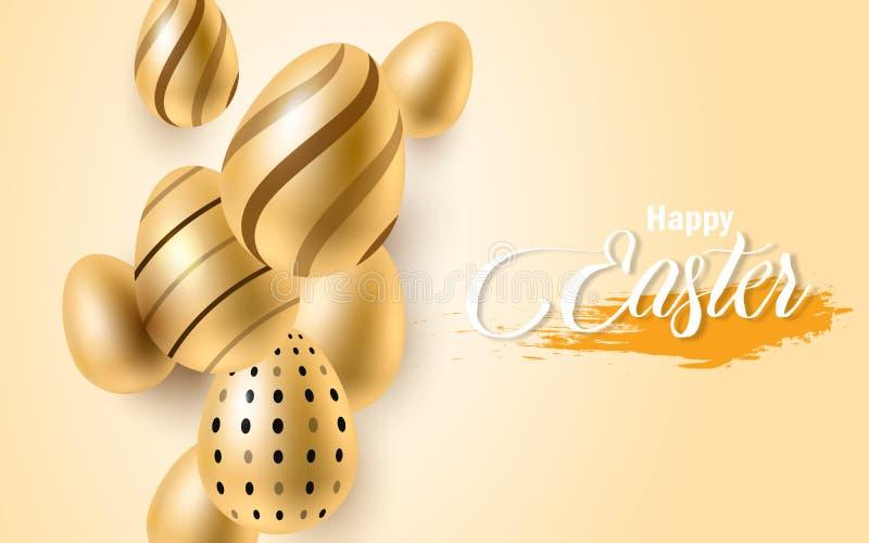 Glücklicher Ostern-Beschriftungshintergrund mit realistischem goldenem Glanz verzierte Eier, Konfettis, goldenes Bürstenspritzen  vektor abbildung