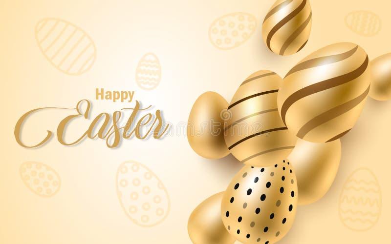 Glücklicher Ostern-Beschriftungshintergrund mit realistischem goldenem Glanz verzierte Eier, Konfettis, goldenes Bürstenspritzen  lizenzfreie abbildung