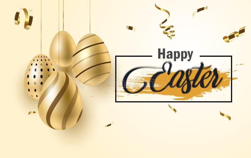 Glücklicher Ostern-Beschriftungshintergrund mit realistischem goldenem Glanz verzierte Eier, Konfettis, goldenes Bürstenspritzen  stock abbildung