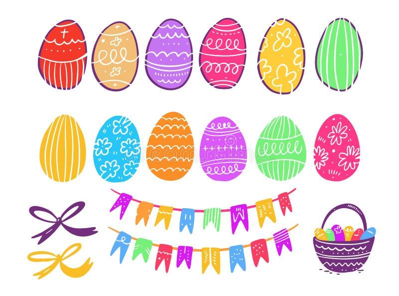 Glücklicher Ostern-Elementsammlungssatz Hand gezeichnete vektorabbildung Getrennt auf weißem Hintergrund lizenzfreie abbildung
