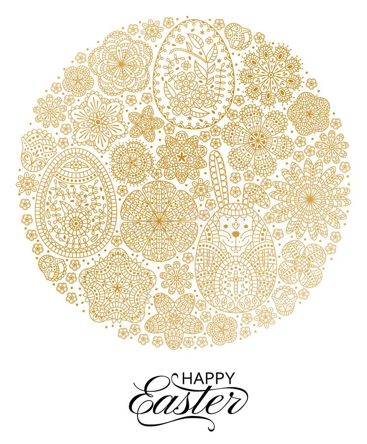 Glücklicher Ostern-Hintergrund Gute Designschablone für Fahne, Grußkarte, Flieger Dekoratives weißes Häschen, Eier und Blumen stock abbildung
