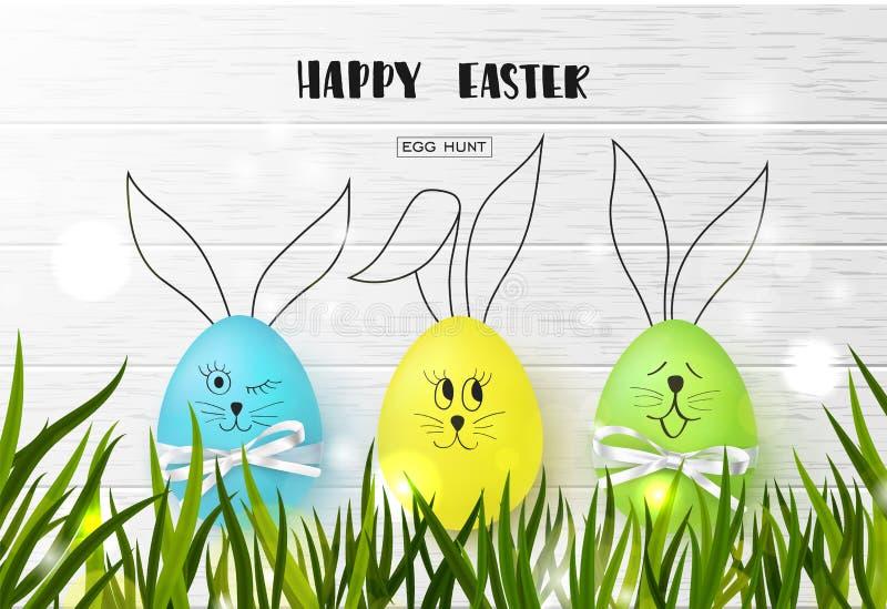 Glücklicher Ostern-Hintergrund mit lustigen bunten Eiern und Gras auf hölzerner Beschaffenheit Ei-Jagd Auch im corel abgehobenen  lizenzfreie abbildung