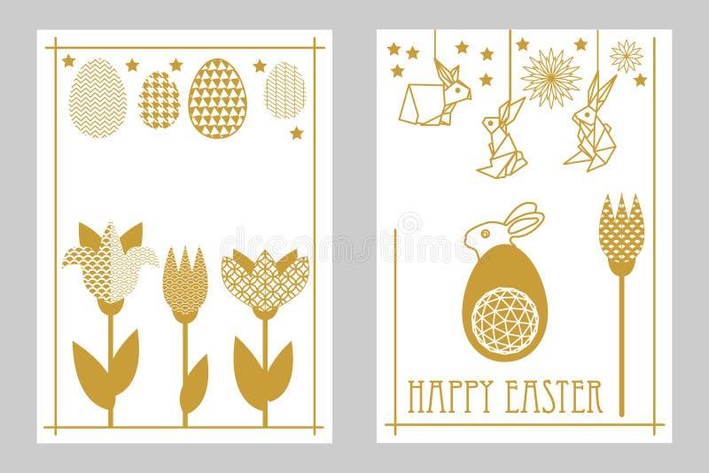 Glücklicher Ostern-Kartensatz mit Hasen, blühenden Tulpen und aufwändigen Eiern stock abbildung
