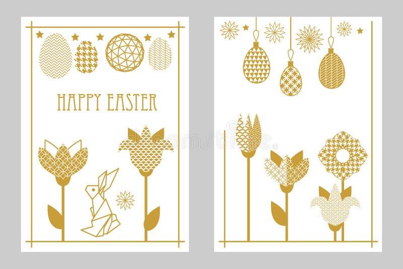 Glücklicher Ostern-Kartensatz mit Kaninchen, blühenden Tulpen, Wildflowers und aufwändigen Eiern lizenzfreie abbildung