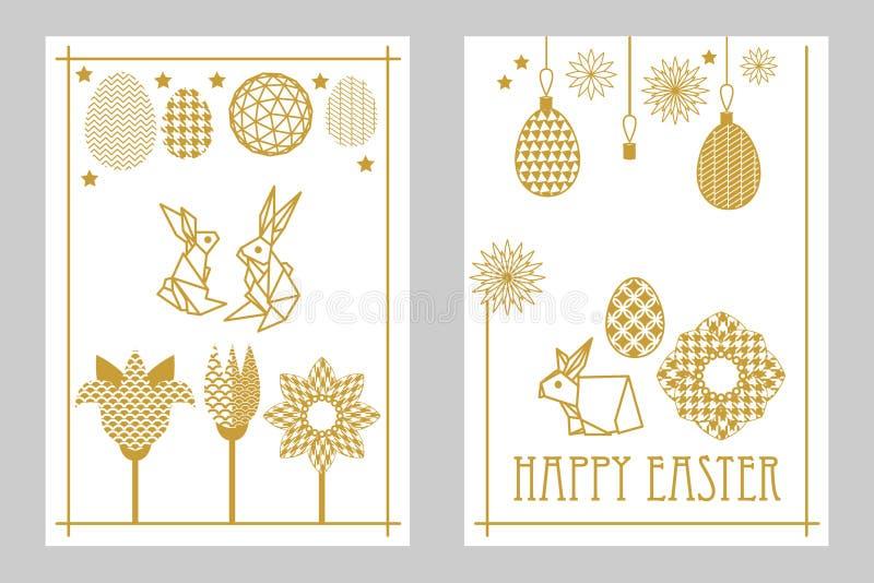 Glücklicher Ostern-Kartensatz mit Kaninchen, blühenden Tulpen, Wildflowers und aufwändigen Eiern vektor abbildung