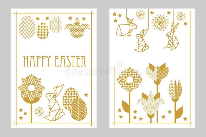 Glücklicher Ostern-Kartensatz mit Kaninchen, blühenden Tulpen, Wildflowers und aufwändigen Eiern stock abbildung