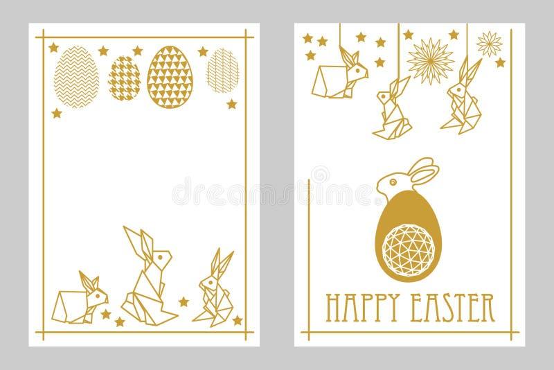 Glücklicher Ostern-Kartensatz mit Kaninchen und aufwändigen Eiern Weiß und golden stock abbildung