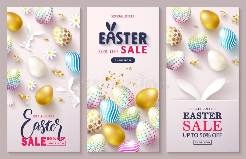 Glücklicher Ostern-Verkaufs-Kartenstapel Schöner Hintergrund mit bunten Eiern, Papierhäschen und goldenem Serpentin Vektor lizenzfreie abbildung