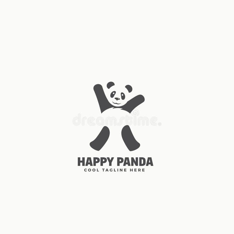 Glücklicher Panda Abstract Vector Emblem oder Logo Template Lustiges Tanzen-Bärn-Schattenbild mit negativem Raum lizenzfreie abbildung