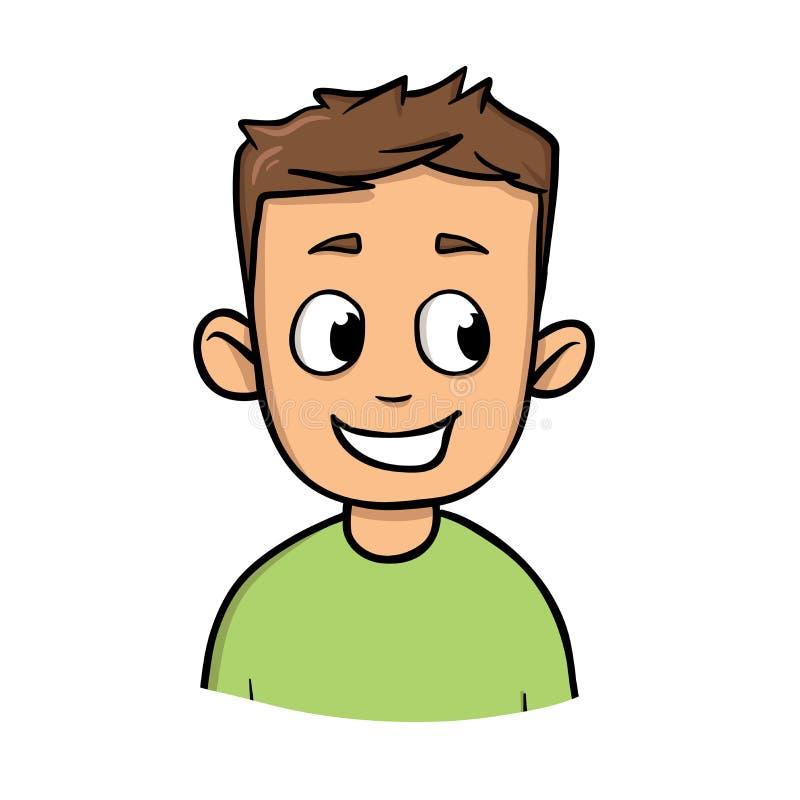 Glücklicher positiver junger Kerl Flache Vektorillustration Getrennt auf weißem Hintergrund lizenzfreie abbildung