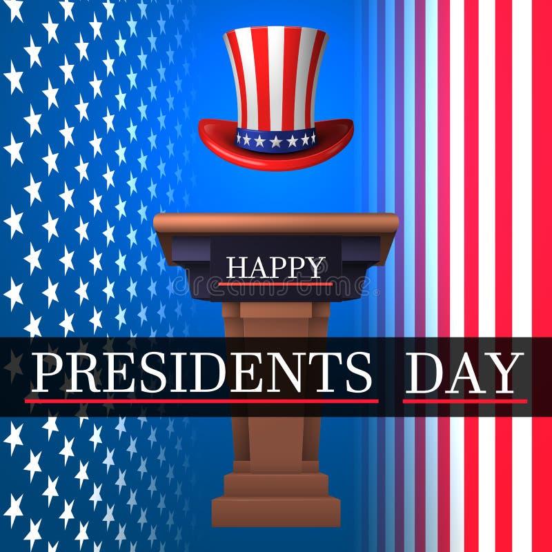 Glücklicher Präsident ` s Tag Mit einer Brücke amerikanischer Hut Onkels Sen's auf dem Hintergrund der amerikanischen Flagge Au lizenzfreie abbildung