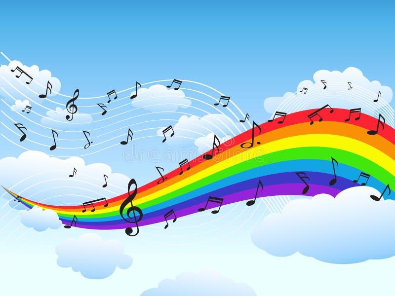 Glücklicher Regenbogen mit Musikanmerkungshintergrund vektor abbildung