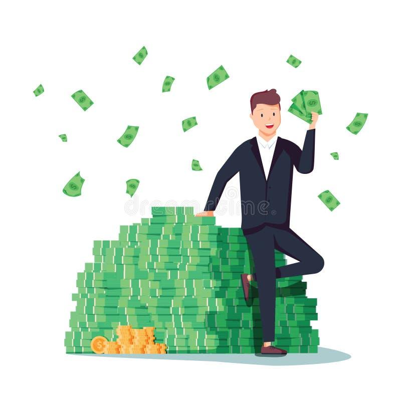 Glücklicher Reicher, der sicher auf großem Haufen des Staplungsgeldes sitzt lizenzfreie abbildung