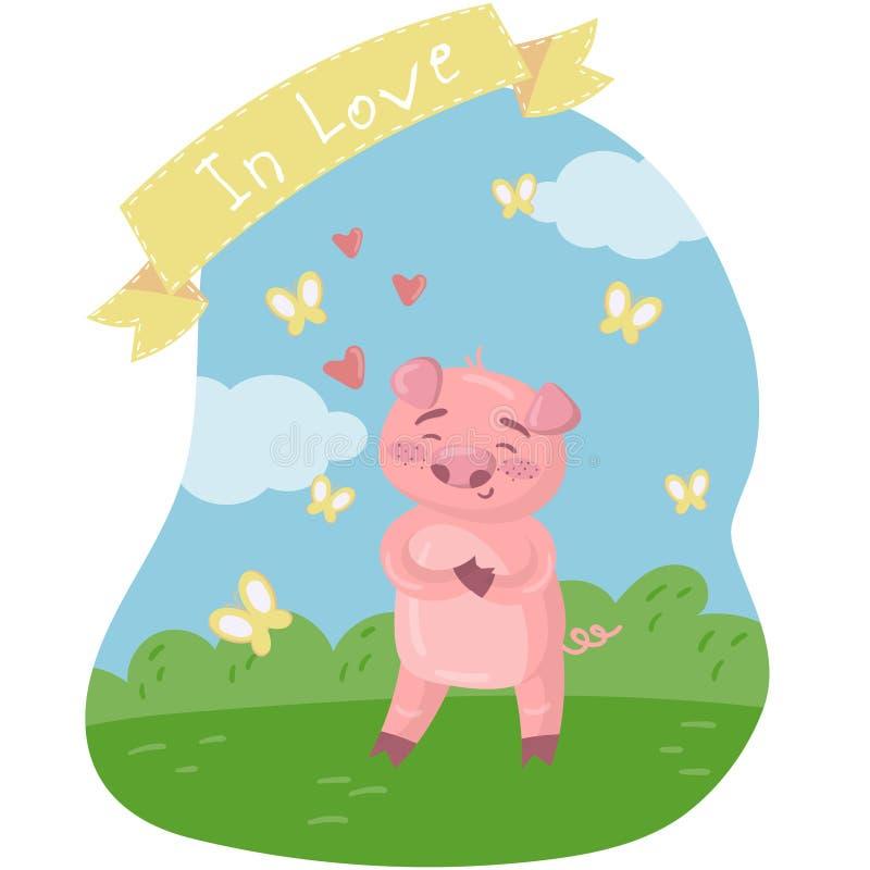 Glücklicher rosa piggy Charakter auf dem grünen Rasen Lustiges Schwein in der Liebe in der Karikaturart, Vektorillustration, Gest vektor abbildung