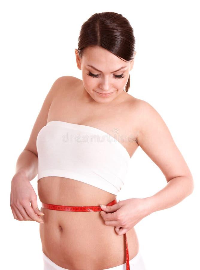 Glücklicher schöner Mädchen Gewichtverlust. lizenzfreie stockfotos