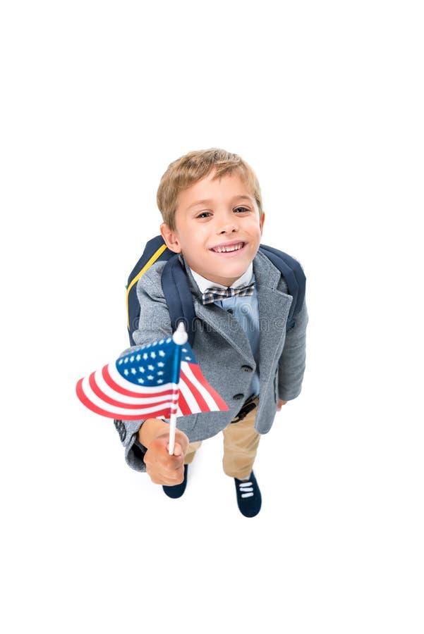 Glücklicher Schüler mit USA-Flagge lizenzfreies stockfoto