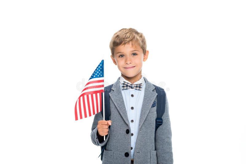Glücklicher Schüler mit USA-Flagge lizenzfreies stockbild