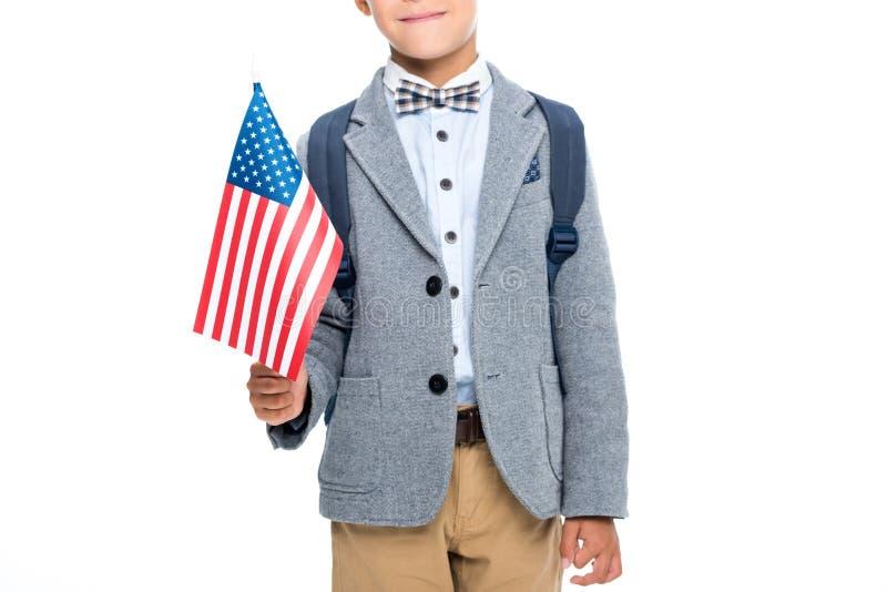Glücklicher Schüler mit USA-Flagge stockfoto