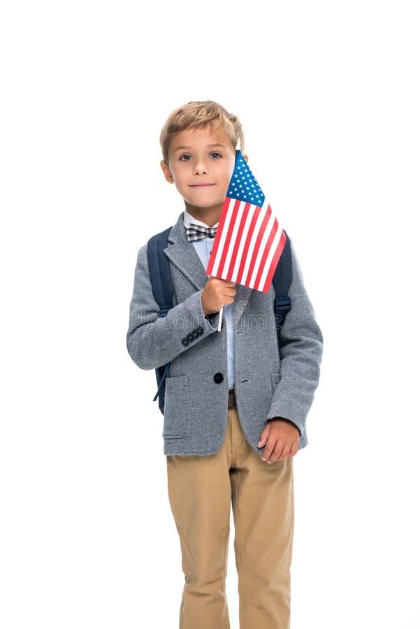 Glücklicher Schüler mit USA-Flagge stockfotografie