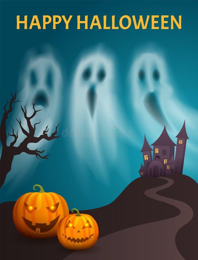 Glücklicher Schloss-Hügel-Plakat-Vektor Halloweens gespenstischer vektor abbildung