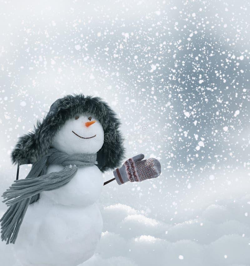 Glücklicher Schneemann, der in der Winterweihnachtslandschaft steht lizenzfreie stockfotos