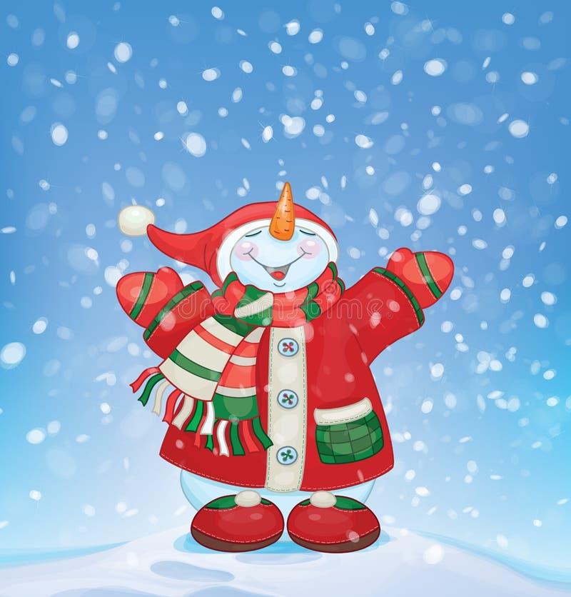 Glücklicher Schneemann und Schneefälle des Vektors Sankt Klaus, Himmel, Frost, Beutel lizenzfreie abbildung