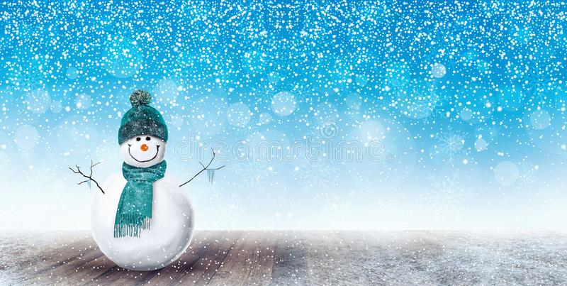 Glücklicher Schneemann-Weihnachtshintergrund stockfotografie