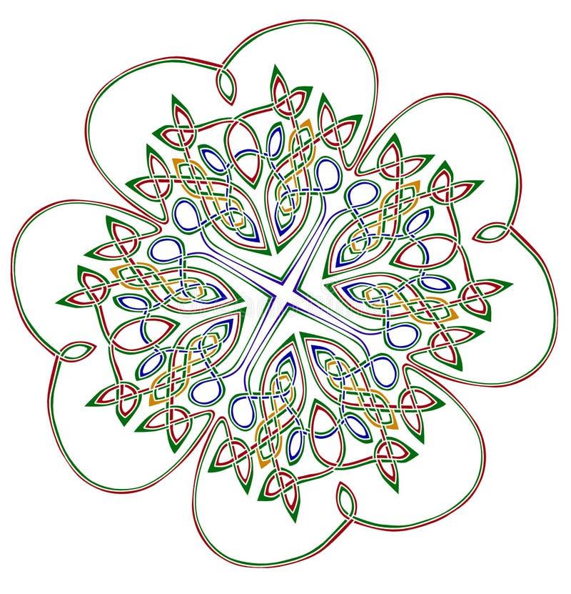 Glücklicher Shamrock mit vier Blättern lizenzfreie abbildung