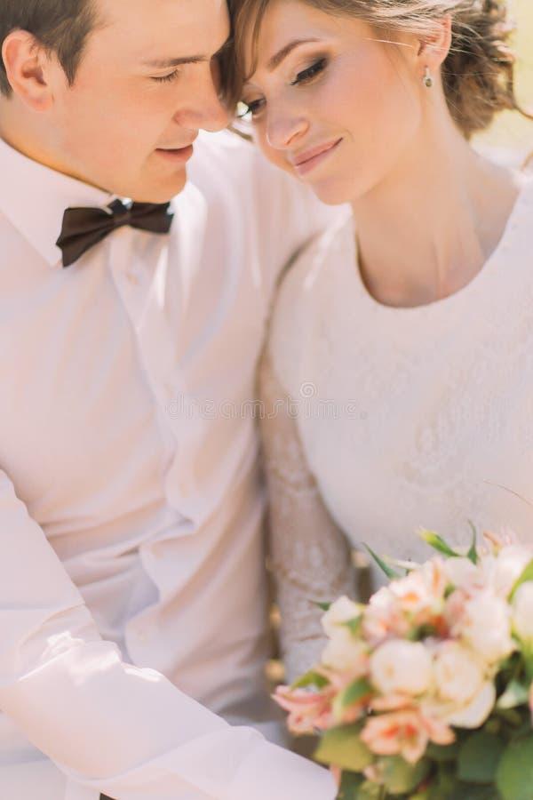 Glücklicher sinnlicher hübscher Bräutigam und blonde schöne Braut im weißen umarmenden Kleid, Nahaufnahme lizenzfreie stockbilder