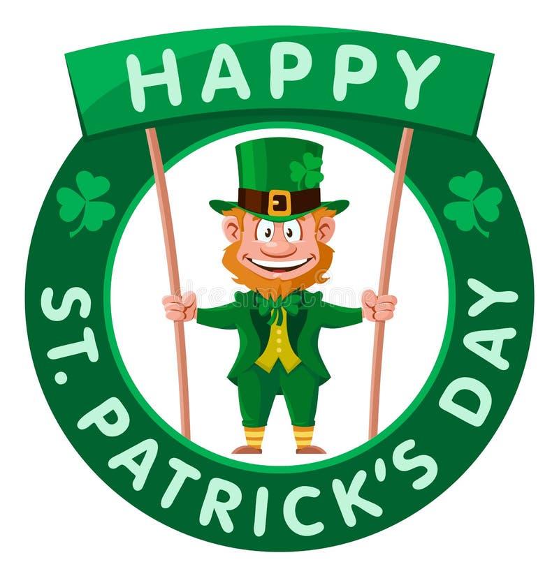 Glücklicher St- Patrick` s Tag Kobold hält Fahne stock abbildung