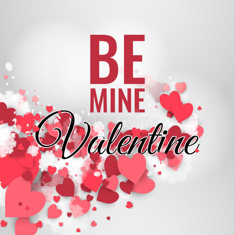 Download Glücklicher St. Valentinstag! Abstrakter Hintergrund Mit Band Und  Fliegenschneeflocken Und  Herzen