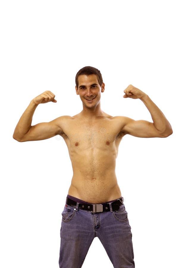 Glücklicher Starker Mit Nacktem Oberkörper Junge Stockfoto - Bild ...