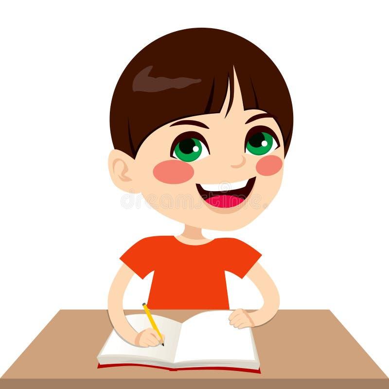 Glücklicher Student Boy Writing vektor abbildung